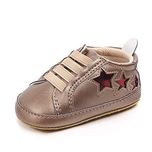 Enteer Baby Girls' Soft Sole Star Sneaker Leather Shoes Gold US 5 (Gold Soft Leather Footwear)