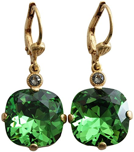 Catherine Popesco Goldtone Crystal Round Earrings, Fern Green 6556G
