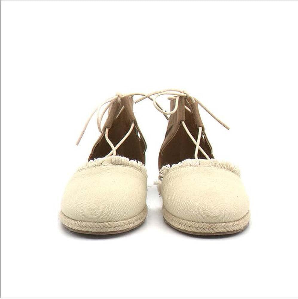 Frauen Leinwand Mode Sandalen Stroh Hanf Sandalen Mode Leinwand Sommer Neuen Stil Beige Größe 35-40 Beige 14ba51