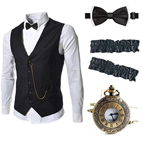 EFORLED Mens 1920s Accessories Gangster Vest Set - Pocket Watch,Armbands,Pre Tied Bow -