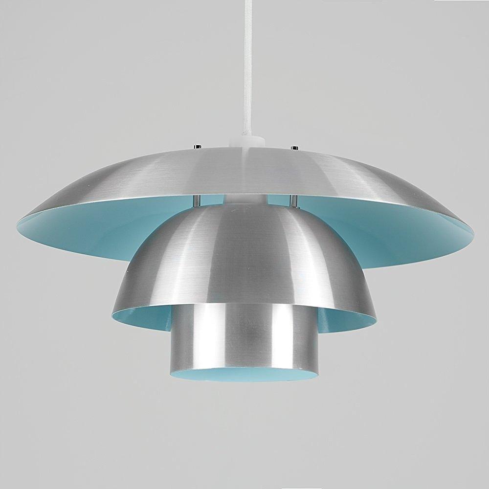 Contemporary 3 Tiered Brushed Aluminium & Duck Egg Blue Ceiling Pendant Light Shade MiniSun