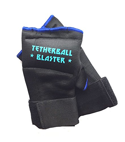 Tetherball Accessory - TETHERBALL BLASTER GLOVES, Kids, Playground, School, PE Game, Sports, Comfort, Padded knuckles, side of hand for protection/maximum power playing ball (Black, Small Left Hand)