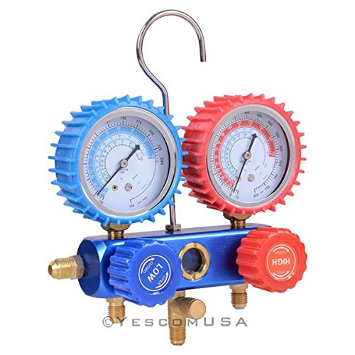HVAC Refrigeration R410a Manifold Rubber Gauge Set 2 Quick-Disconnect Valve 3 Hose Working Pressure: 800 PSI - Valve Manifold Sets