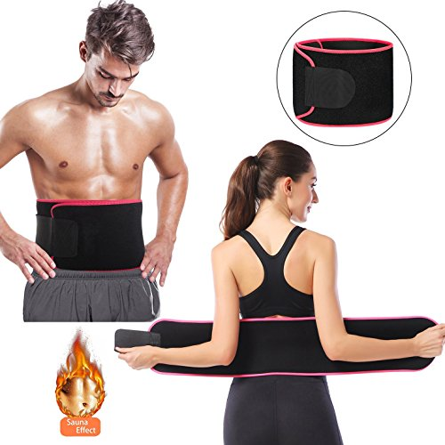 (Waist Trimmer Weight Loss Wrap, Stomach Fat Burner, Sauna Belt Slim Trainer to Shed The Excess Water, Weight and Tone of Mid Section for Faster Weight Loss (Rose Red))