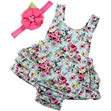 PrinceSasa Baby Girl Clothes Mint Green Cloth Floral Ruffles Summer Cake Smash Romper and Headband for Newborn Gifts,A5,0-6 Months(Size S)