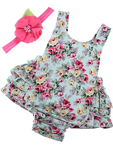PrinceSasa Baby Girl Clothes Mint Green Cloth Floral Ruffles Summer Cake Smash Romper and Headband for Newborn Gifts,A5,0-6 Months(Size ()