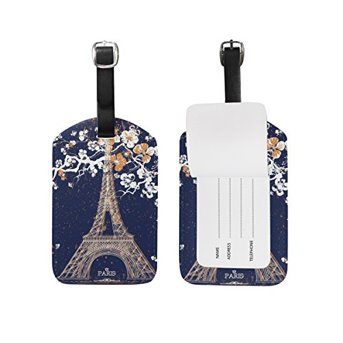 Set of 2 Eiffel Tower Paris France Retro Leather Travel Suitcase Labels Luggage Tags - France Label