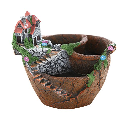 OUNONA Fairy Garden Miniature Broken Flower Pot Villa Sweet House on the Cliff Sky Castle Sculpture Planter ()