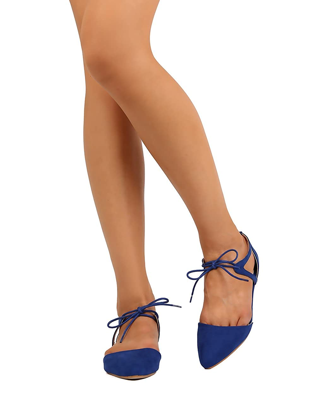 STYLUXE Women Faux Suede Pointy Toe Dorsay Ankle Tie Cut Out Ballet Flat FJ52 - Royal Blue B01HHO646U 7.5 M US