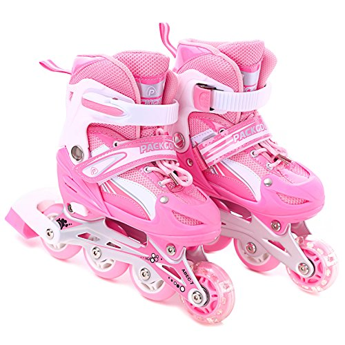 Girls Inline Skates Adjustable Rollerblades for Kids Girls with Illuminating Wheel the Premium Breathable Mesh Roller Skates w/ Double Secure Lock - Offer Safer Experience of Roller - Double 1 Blade