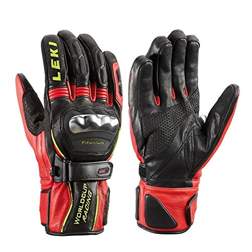 LEKI World Cup Racing Ti S Gloves Black/Red/Yellow (Large)