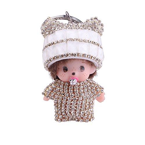 - Sunvy Cute Crystal Rhinestone Charm Doll Baby Keychain Pendant Birthday Gift Car Key Handbag Ring For women Girls (silver)