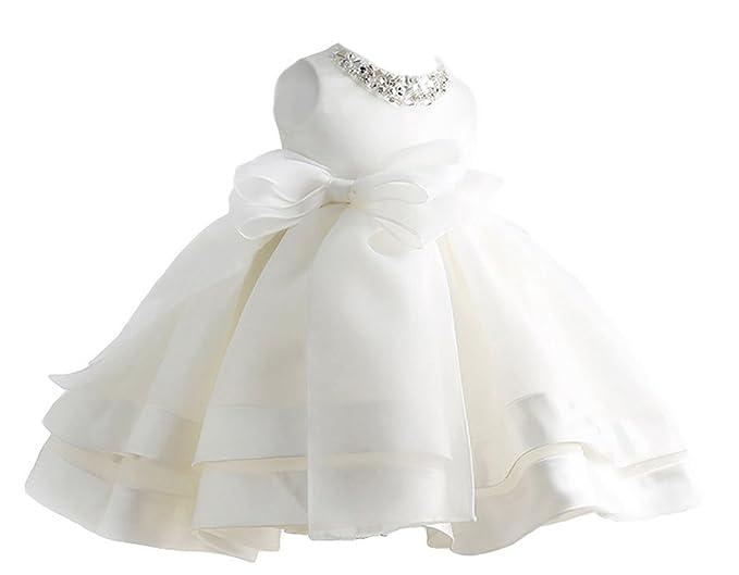 Happy Cherry Niñas Princesas Blanco Vestido de Fiesta Tutú Dress sin Mangas para Boda Dama de