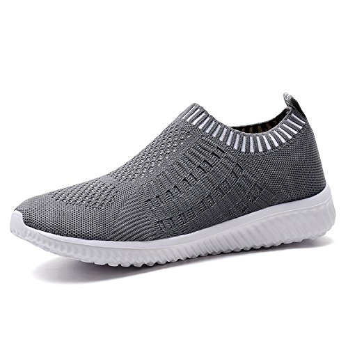 TIOSEBON Women's Athletic Walking Shoes Casual Mesh-Comfortable Work Sneakers 9.5 US Deep Gray