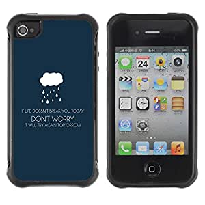 Planetar® ( If Life Doesn't Brake You - Life ) Apple iPhone 4 / 4S Hybrid Heavy Duty Shockproof TPU Fundas Cover Cubre Case