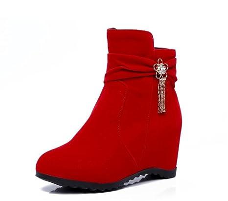 Mujer Otoño Zapatos Invierno Cabeza Gamuza Botas Femeninas Xie De CqEfwCX