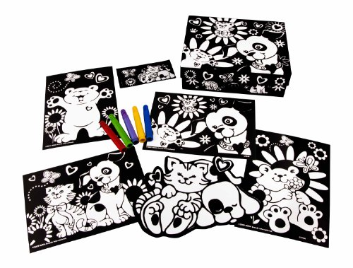 Fuzzy Art Set (RoseArt 6-Piece Mini Fuzzy Poster Fun Set Assortment, Packaging May Vary)