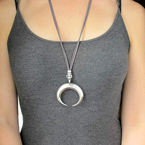 Large Crescent Moon Necklace-Silver Double Horn Necklace-GREY 32 INCHES-Long Necklaces for Women-Long Necklace with Silver Moon ()