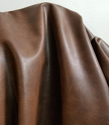 Medium Brown two tone Faux Leather Synthetic Two Tone crazy Horse look Pleather 0.9 mm Madison 1 yard 52 inch wide x 36 inch long Soft smooth vinyl Upholstery (Dark - Leather Fabric Woven