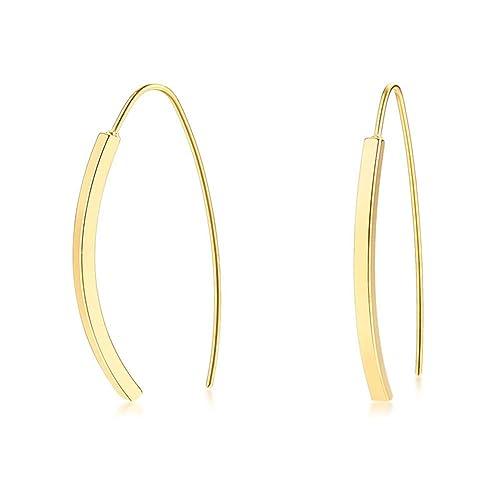 Amazon.com: Bonitos pendientes de arco chapados en oro de ...