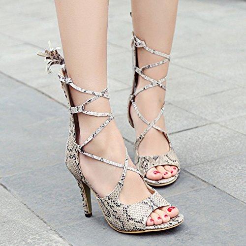 COOLCEPT Mujer Moda Elegant Tacon de Aguja Cross Strap Sandalias With Cremallera Beige