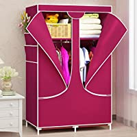 Moon Angle New Wardrobe zipper Non-woven Fabric Steel frame reinforcement Standing Storage Organizer Detachable Clothing Closet furniture (Wine Red)