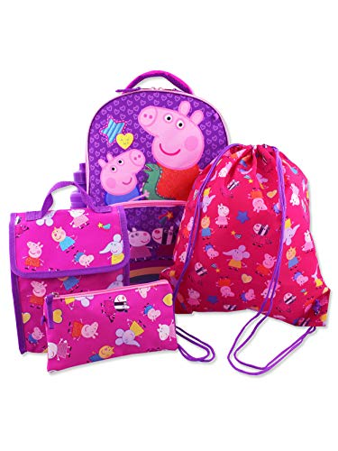 Peppa Pig Girls 5 piece Backpack and Snack Bag School Set (One Size, Pink/Purple) (Girls Pepa Pig)