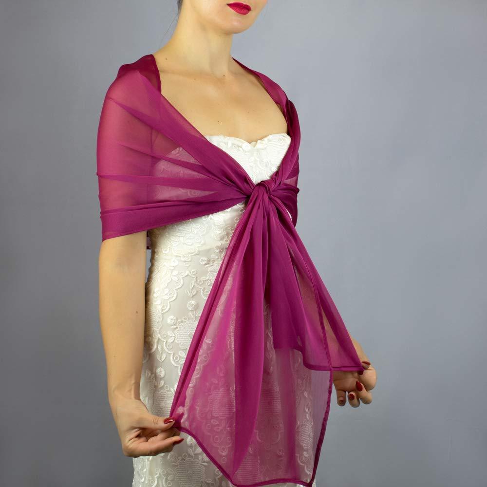 Châle Écharpe Étole Chiffon Femme Mariage sur Robe de Soirée Mariée en framboise fuchsia rose