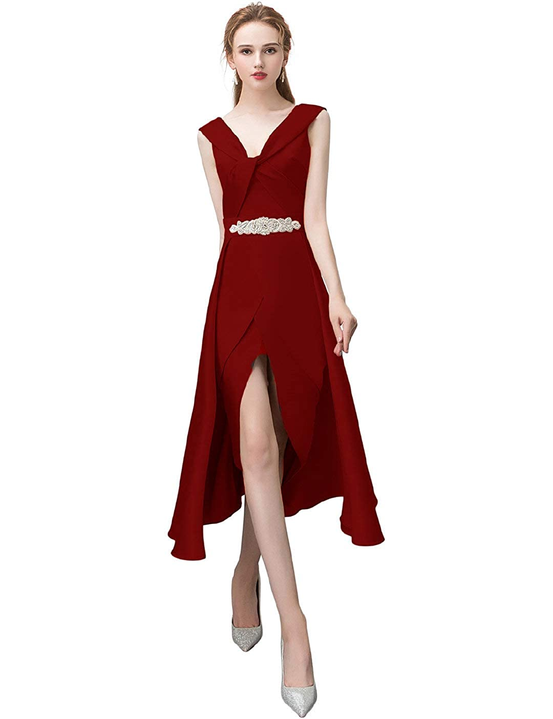 Burgundy Anshirlisa Women's Sleeveless Credver Pleat HighLow Satin Gown Dress