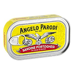 Angelo Parodi Portuguese Sardines in Pure Olive Oil | 4 Pack | Imported From Italy | Wild Caught and Hand Selected | Premium All Natural | Gourmet Fish in 4.23 oz Can (120 Gram)
