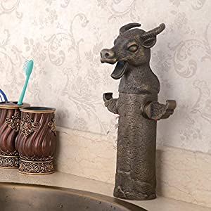 GAOF 12 Zodiac lavatory faucet copper hand-carved mix hot and cold water animal shape mixer hot sale 2017