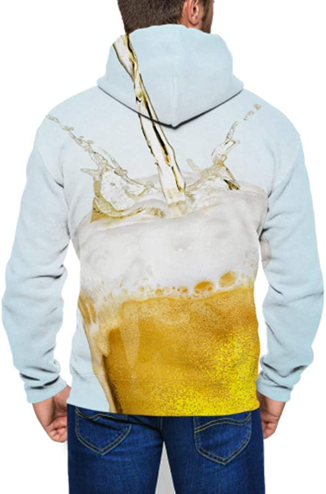 WHDKG Long Sleeve Hoodie Print Cold Beer Glass Jacket Zipper Coat Fashion Mens Sweatshirt Full-Zip S-3xl