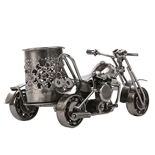 MyGift Motorcycle & Sidecar Pencil Cup, Office Desktop Pen Holder, Gunmetal Gray Photo #2