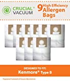 kenmore style 0 vacuum bags - 9 Replacements for Kenmore Type B Cloth Bags Fit Kenmore & Oreck Canister Vacuums, Compatible With Part # 85003, 24196, 634875 & 115.2496210, by Think Crucial