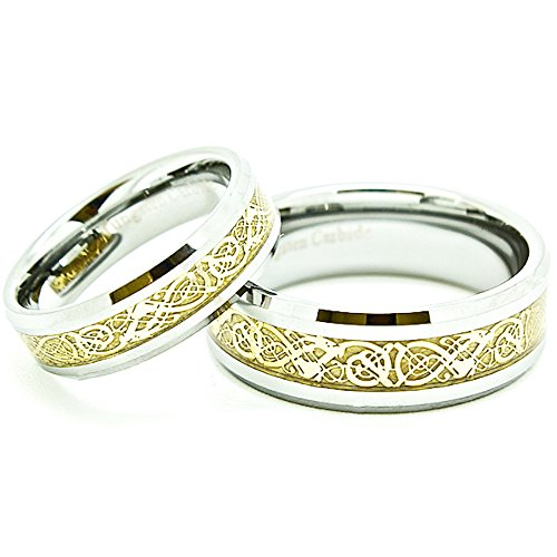 Blue Chip Unlimited Matching 6mm & 8mm Tungsten Golden Colored Celtic Dragon Inlay Wedding Rings (Check Listing for Sizes)