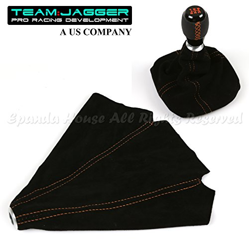 For Jap Cars Only! Black Suede Alcantara Shift Boot Replacement Upgrade Orange Stitched - Black Alcantara