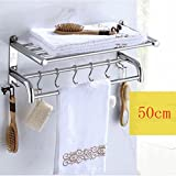 YXN 304 stainless steel thickened base towel bar towel rack bathroom shelf bathroom hardware accessories (Size : 50cm)