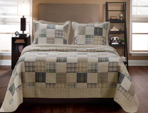 Greenland Home 3-Piece Oxford Quilt Set, King, Multicolor