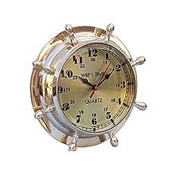 Hampton Nautical Brass Double Dial Porthole Wheel Clock, 8