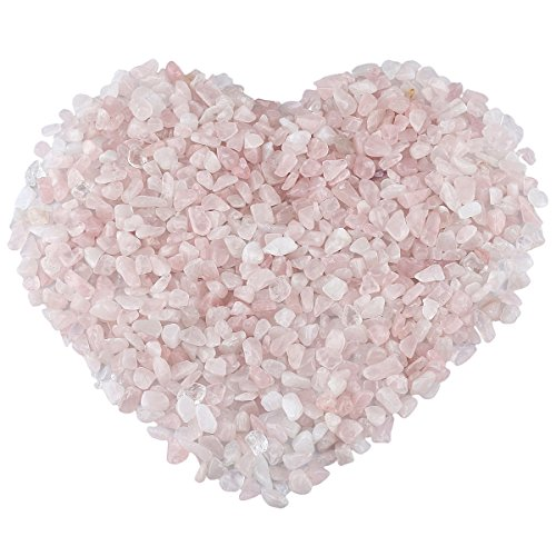 (rockcloud 1 lb Rose Quartz Small Tumbled Chips Crushed Stone Healing Reiki Crystal Jewelry Making Home Decoration)