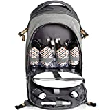 Search : Scuddles 4 Person Picnic Backpack - With SOLID Stainless Steel Utensils, Oversized Water Resistant Fleece Blanket, Cooler Compartment, Holders Wine Bottles in a Modern Designed Backpack