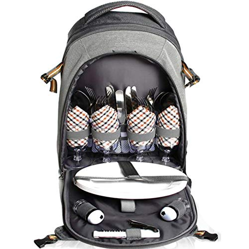 PREMIUM Extra Large Picnic Basket keeps food Hot/Cold for 12 Hours UPGRADED lunch tote For 4 People Picnics includes stainless steel spoons forks plates napkins wine With Flatware (BACKPACK VERSION)