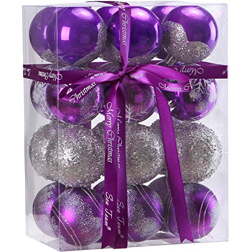 Sea Team 60mm/2.36 Delicate Painting & Glittering Shatterproof Christmas Balls Decorative Hanging Christmas Ornaments Baubles Set for Xmas Tree - 24 Counts (Purple)