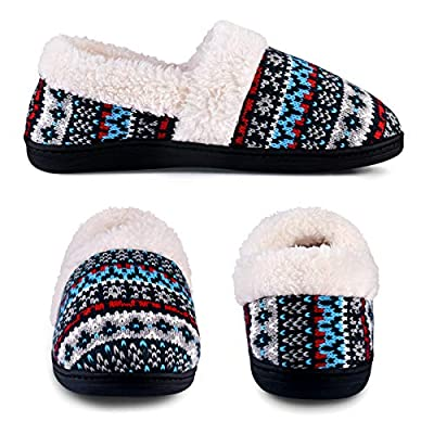 Women's Slip-On Knit Slippers Memory Foam Slippers Fuzzy Wool-Like Plush Fleece Lined House Shoes Indoor/Outdoor Anti-Skid Rubber Sole