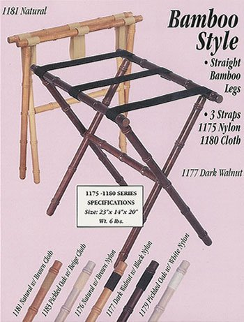 Scheibe 1176 Natural Bamboo Luggage Rack with Brown Nylon Straps - 23 x 14 x 20 (Scheibe Luggage)