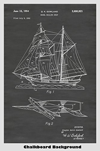 Model Sailing Ship / Sailboat Patent Print Art Poster: Choose From Multiple Size and Background Color Options