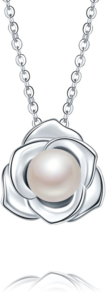 Lovely Rose High Polished 925 Sterling Silver Earrings with 7mm Natural Freshwater Pearl