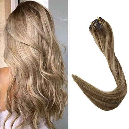 Full Shine 14 inch Clip Ins Color #10 Golden Brown Highlight With Color #16 Golden Blonde Piano Color Clip Hair Extensions Real Human Hair 9 Pieces 100g Double Weft Clip on