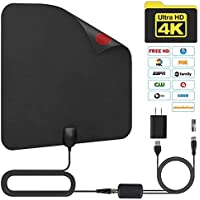 Telustyle TV Antenna, Indoor Digital Amplified HDTV Antennas 50-80 Miles Range with Detachable Signal Amplifier, UL Adapter and 16.5FT Longer Coax Cable - Support 4K 1080p (Black)