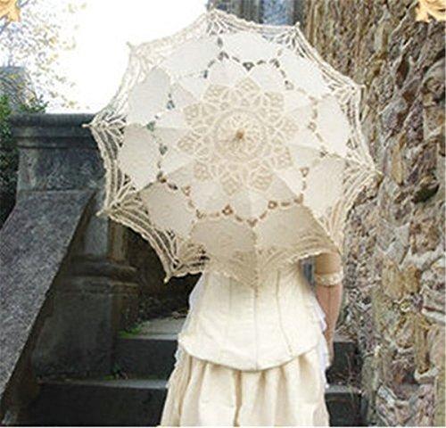 Zebratown White Wedding Lace Parasol Umbrella Victorian Lady Costume Accessory Bridal Party Decoration Photo Props (Pretty Parasol)